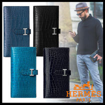 HERMES Crocodile Street Style Long Wallets