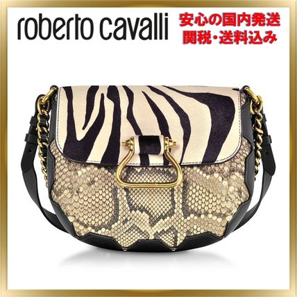 Zebra Patterns Leather Python Elegant Style Shoulder Bags