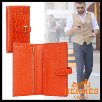 HERMES Crocodile Plain Long Wallets