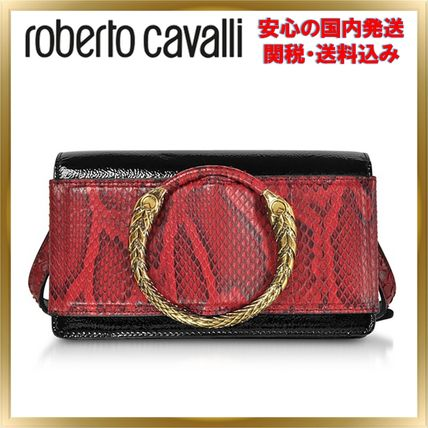 Leather Python Elegant Style Shoulder Bags