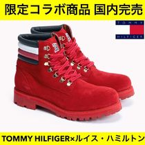 Tommy Hilfiger Stripes Plain Toe Mountain Boots Suede Street Style