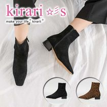 Leopard Patterns Square Toe Casual Style Suede Plain