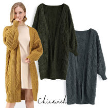 Chicwish Cable Knit Plain Long Elegant Style Puff Sleeves Knitwear