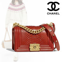 CHANEL BOY CHANEL Plain Leather Python Elegant Style Shoulder Bags