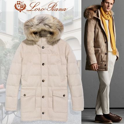 Cashmere Plain Long Down Jackets