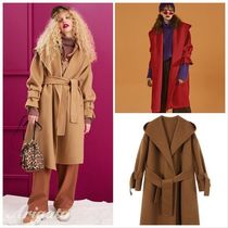 ELF SACK Casual Style Wool Street Style Plain Long Chester Coats