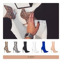 SIMMI Casual Style Faux Fur Street Style Plain Pin Heels Python