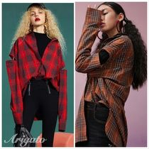 ELF SACK Other Check Patterns Casual Style Street Style Long Sleeves