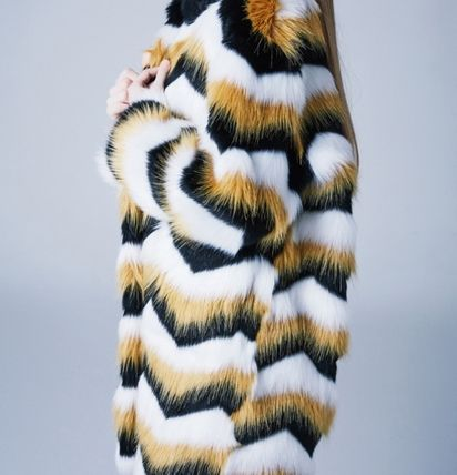 Stripes Faux Fur Street Style Long Coats