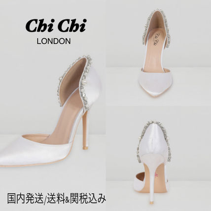 Plain Pin Heels With Jewels Stiletto Pumps & Mules