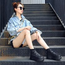 Wedge Round Toe Casual Style Leather
