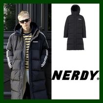 NERDY Unisex Street Style Plain Long Oversized Coach Jackets