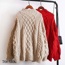 Cable Knit Casual Style Street Style Long Sleeves Medium