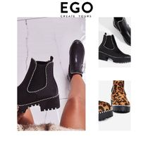 EGO Leopard Patterns Casual Style Unisex Faux Fur Studded