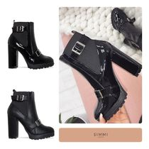 SIMMI Round Toe Casual Style Street Style Plain Chelsea Boots