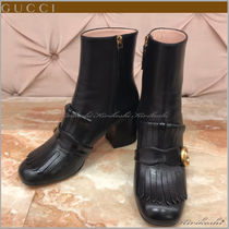 GUCCI Square Toe Plain Leather Block Heels Ankle & Booties Boots