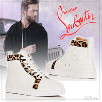 Christian Louboutin Leopard Patterns Studded Plain Leather Sneakers