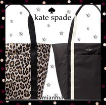 kate spade new york Leopard Patterns Casual Style Nylon A4 Plain Totes