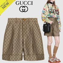 GUCCI Short Monoglam Cotton Denim & Cotton Shorts