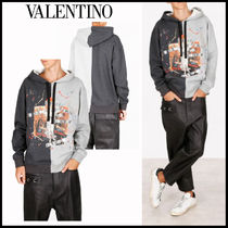 VALENTINO Street Style Long Sleeves Cotton Oversized Hoodies