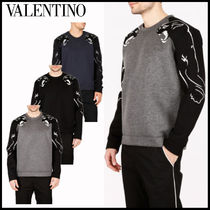VALENTINO Crew Neck Street Style Long Sleeves Other Animal Patterns