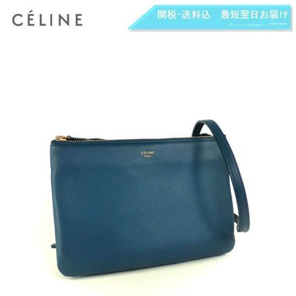 CELINE Shoulder Bags 2WAY Plain Leather Elegant Style Shoulder Bags 2