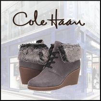Cole Haan Round Toe Casual Style Faux Fur Plain Wedge Boots