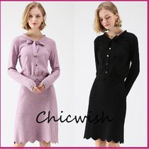 Chicwish Casual Style Tight Long Sleeves Plain Medium Dresses