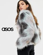 ASOS Short Stripes Faux Fur Cashmere & Fur Coats