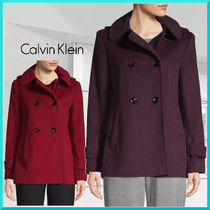 Calvin Klein Plain Medium Office Style Peacoats