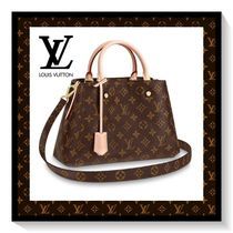 Louis Vuitton Monogram Blended Fabrics 2WAY Leather Office Style Handbags
