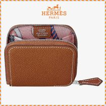 HERMES Silk In Plain Leather Coin Cases