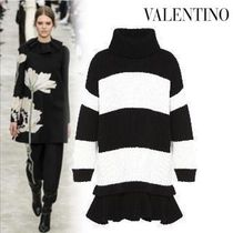 VALENTINO Stripes Casual Style Wool Long Sleeves Medium Fringes