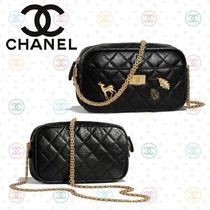 CHANEL MATELASSE Calfskin Blended Fabrics 2WAY Chain Other Animal Patterns
