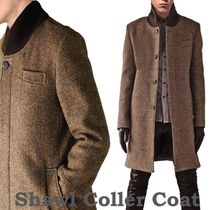 Unisex Wool Street Style Plain Long Chester Coats