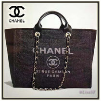 CHANEL DEAUVILLE 2WAY Chain Plain Elegant Style Totes