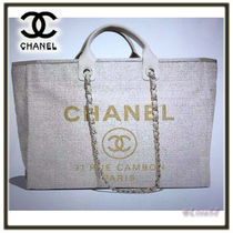 CHANEL DEAUVILLE Canvas 2WAY Chain Plain Elegant Style Totes