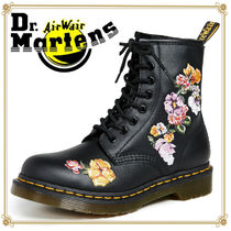 Dr Martens Flower Patterns Plain Toe Leather Engineer Boots