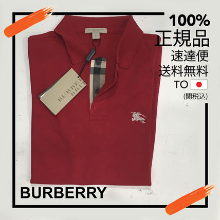 Burberry Brit Military Red Check Placket Cotton Polo Shirt
