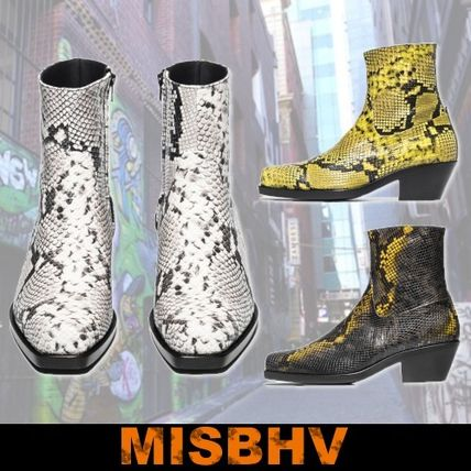 Street Style Other Animal Patterns Leather Boots