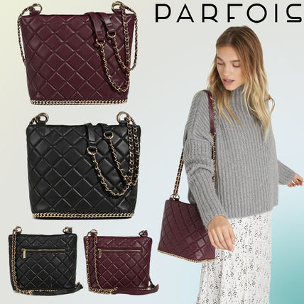 10e132bbb9ae ... PARFOIS Shoulder Bags Casual Style Faux Fur Chain Plain Bold Shoulder  Bags ...