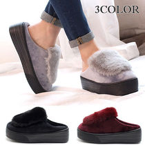 Platform Round Toe Casual Style Faux Fur Plain Slippers
