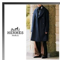 HERMES Wool Plain Long Chester Coats