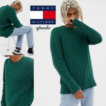 Tommy Hilfiger Crew Neck Cable Knit Street Style Long Sleeves Plain