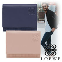 LOEWE Unisex Plain Leather Folding Wallets