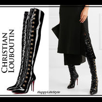 Christian Louboutin Plain Leather Pin Heels Elegant Style Over-the-Knee Boots
