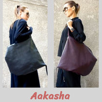Aakasha A4 Plain Leather Handmade Oversized Totes