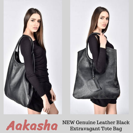 Casual Style A4 Plain Leather Handmade Totes