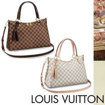 Louis Vuitton DAMIER Other Check Patterns Tassel A4 Leather Elegant Style Totes
