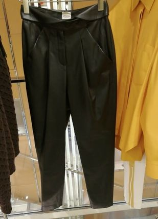 Plain Leather Long Office Style Leather & Faux Leather Pants